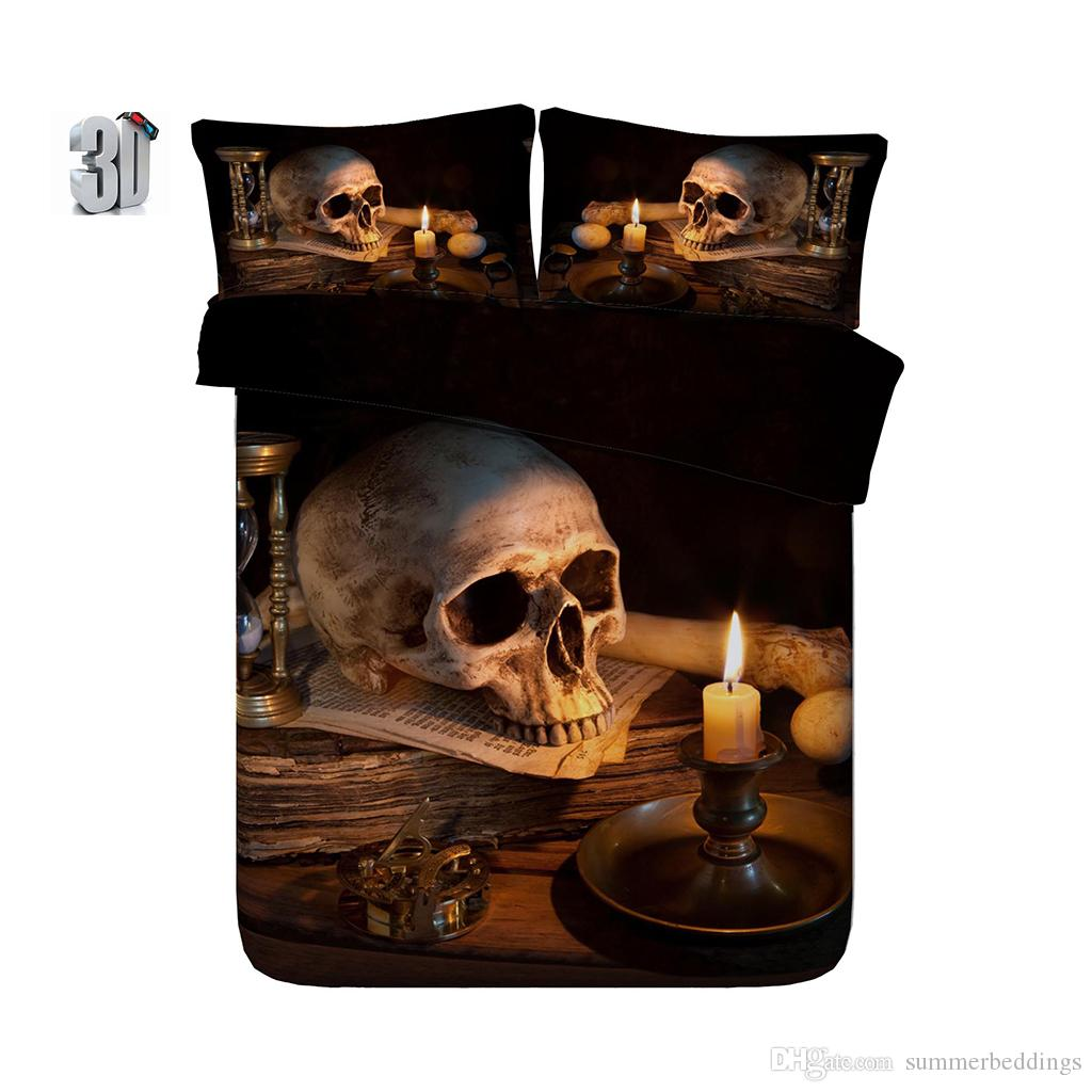 150x200CM 3PCS 3D Flame Skull Print Bedding Duvet Cover Set with pillowcase, Microfiber Comforter Cover, Zipper Closure, NO Quilt