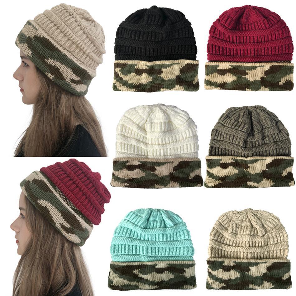 الشتاء النساء محبوك قبعة دافئة التمويه خليط الصوف قبعة السيدات الرجال للجنسين الجمجمة قبعة الصلبة أنثى قبعات LJJA2774