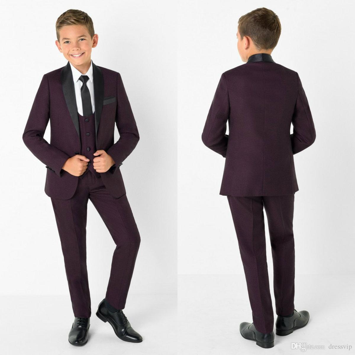 Little Boy Formal Suits Dinner Tuxedos for Wedding Party Little Boy Groomsmen Kids Children Prom Suit Formal Wear (Jacket+Pants+Vest)