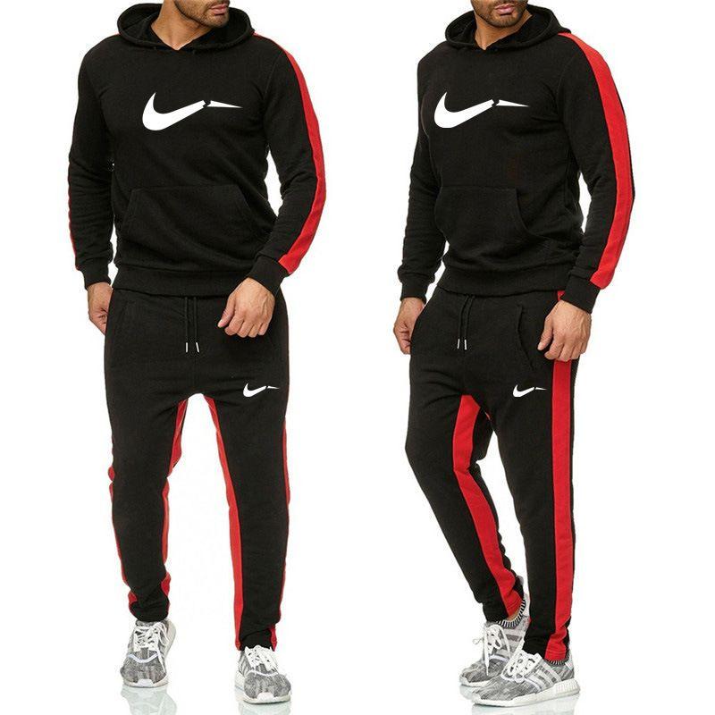 sweatsuit Designer Anzug Hoodie Sweatshirts Schwarz Weiß Herbst-Winter-Jogger Sportanzug Herren Sweat Tracksuits Set Plus Size M-2XL