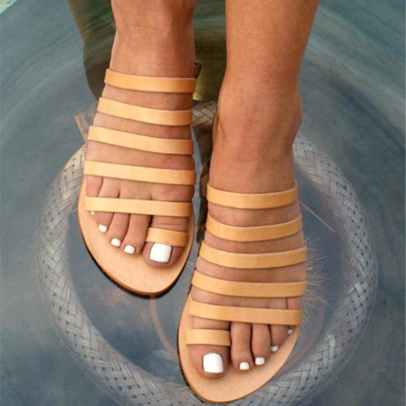 Gladiator Sandales Chaussures Femme Chaussons Sandales plates dames romaines flops Chaussures d'été Fo femmes Sandalia Feminina