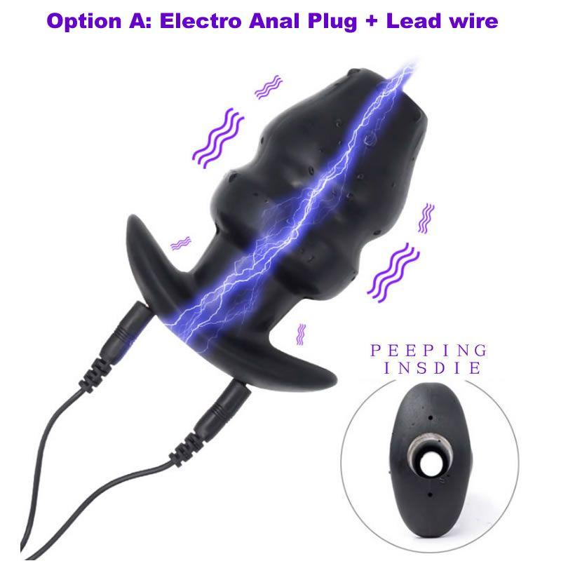 Electrostim For Toy Hollow Anal Plug Silicone Peeping Novelty Bondage BDSM Sex Electrical Plug Adult Gear Butt Shock Equipment Tisqm
