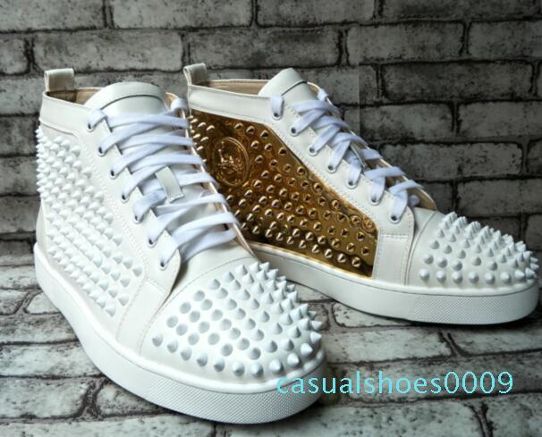 nuova moda inferiori rossi dei pattini High Top Mens Spikes delle scarpe da tennis, di design di lusso Rivetti piatto a piedi scarpe dimensioni: 36-47 all'ingrosso D09 C09