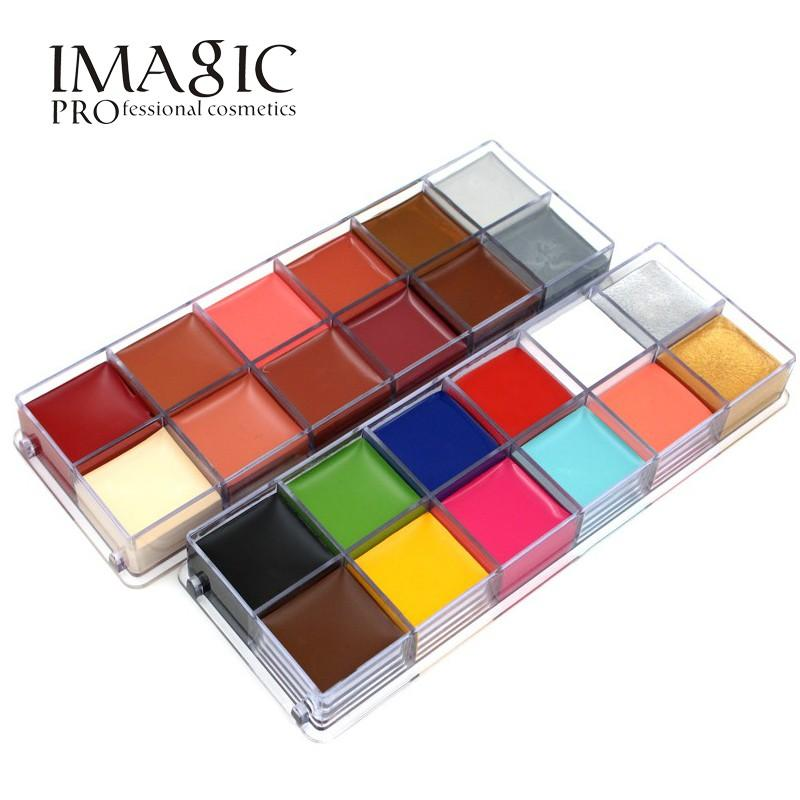 IMAGIC Brand 12 Colors Flash Tattoo Palette Face Body Paint Oil Smudge Proof Glitter Body Painting Facial Tattoo Makeup Art Tool