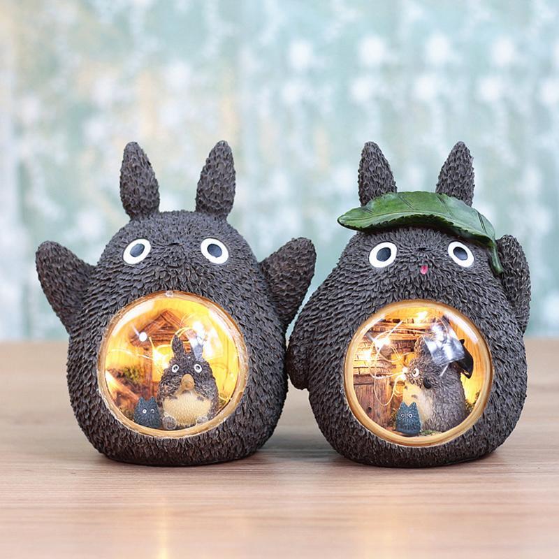 Çocuklar için Ins Reçine Karikatür Bebek Odası El Sanatları Lambalar Totoro Ağacı Delik Yapraklar Yıldızlı Gece Işığı Ev Dekorasyon Noel Hediyesi