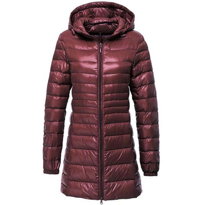 긴 재킷 여성 겨울 다운 코트 여성 캐주얼 후드 화이트 오리 다운 재킷 초경량 따뜻한 5xl 6xl 코트 Casaco Feminino Y190827