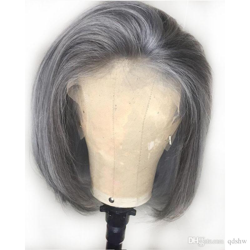 Grey Human Hair Lace Front Wigs Glueless Brazilian Gray Pre Plucked Full Lace Wig Silver Short Bob Cut Lace Front Wigs Free part