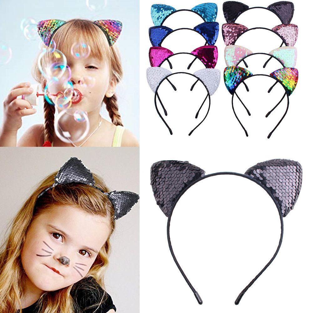 Di nuova vibrazione paillettes fascia delle orecchie di gatto compleanno fascia fascia per capelli del copricapo della ragazza bastoni dei bambini regalo di Natale di Halloween