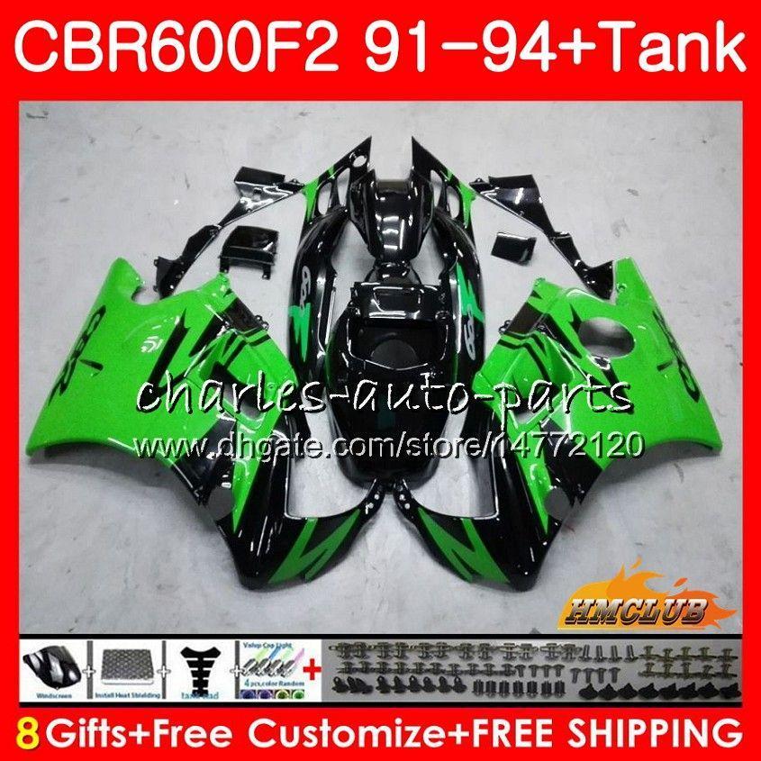 Lichaam + tank voor HONDA CBR 600F2 CBR600FS CBR 600 FS F2 91 92 93 94 40HC.25 600CC CBR600 F2 CBR600F2 GLOSSY GROEN 1991 1992 1993 1994 Kuip