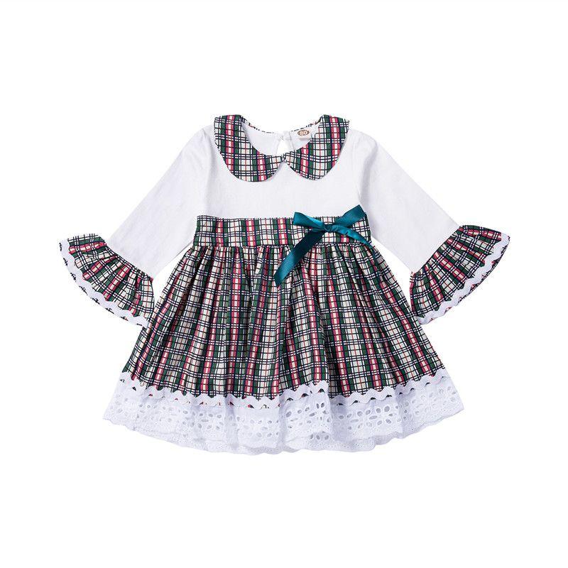Frühling und Herbst Kleinkind-Baby-Kleid Boutique Cotton Ruffle Retro Plaid-Baby-Kleid-beiläufige Baby-Spitze-Kleidung-Partei-Ausstattung
