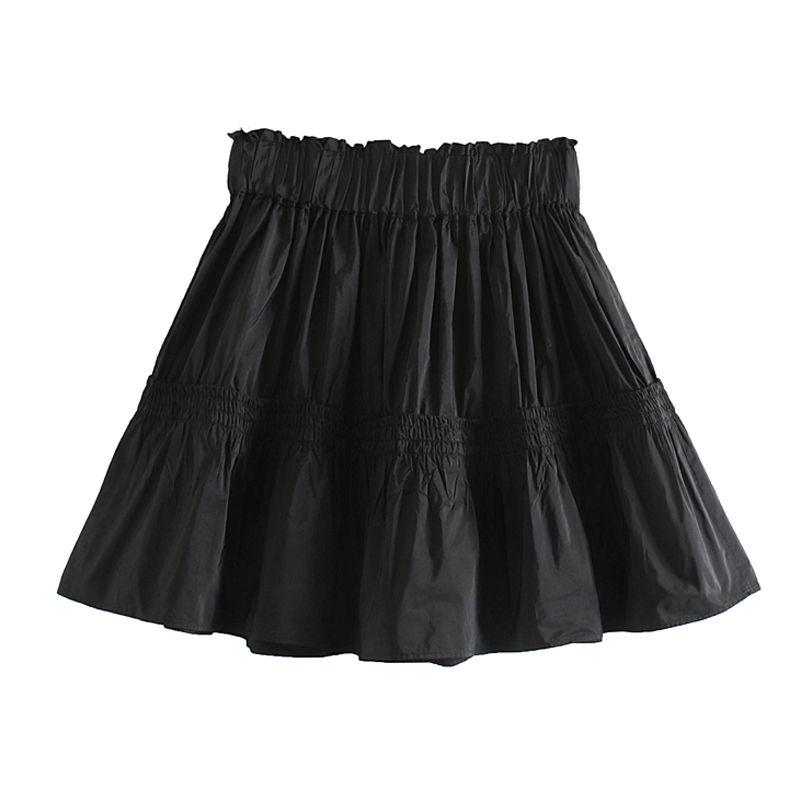 Agong Casual Katı Katlama Etekler Kadınlar Moda Gevşek Tafta Siyah Etek Kadın Zarif Elastik Bel Mini Etekler Kadın Bayanlar