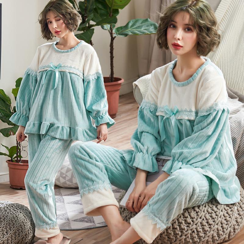 أحدث الأساليب في الخريف والشتاء الأمومة اللباس سميكة الفانيلا الأميرة نمط الملابس القمرية الملابس أوقات الفراغ منامة الحوامل