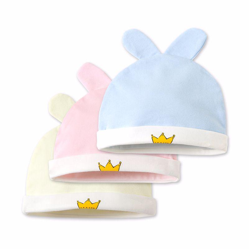 0-6M Infant Baby Hat Winter Autumn Cotton Beanie Toddler Boy Girl Cute Crown Print Cartoon Caps Soft Warm Ear Kids Cloth