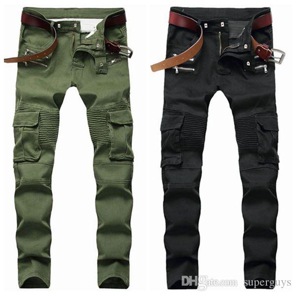 Hommes Distressed Ripped Skinny Jeans Mode Hommes Jeans Slim Moto Moto Biker causales Hommes Denim Pantalons Hip Hop Jeans Noir