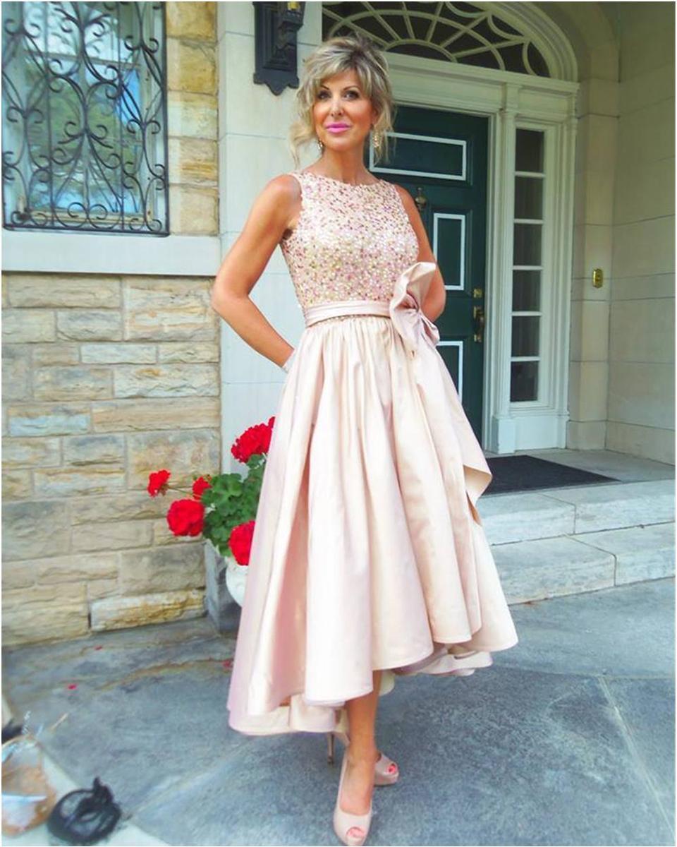 Kanat Wedding Guest Elbise Anne Gelinlik Elbise ile Gelin Modelleri Jewel dökümlü Satin Of Yüksek Düşük Anne