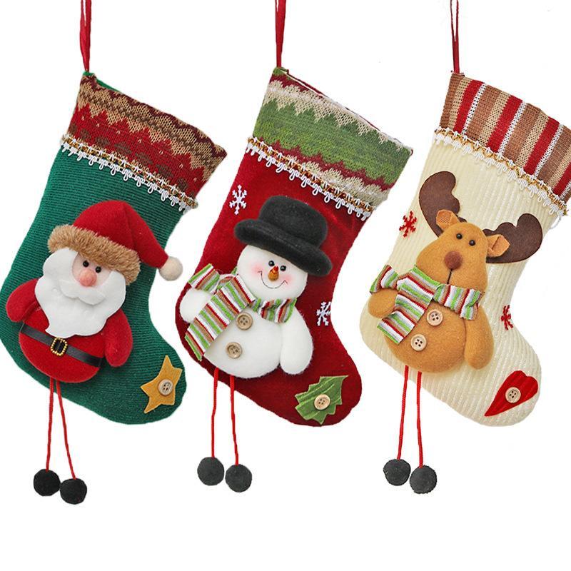 2018 Новый Рождественский Носок Подарочная Сумка Рождественские Украшения Санта-Клаус Носки Украшения Поставки