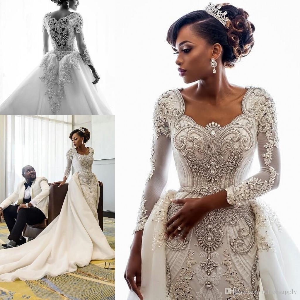2020 perlage africaine Robes de mariée luxe cristaux manches longues Robes de mariée train amovible sur mesure
