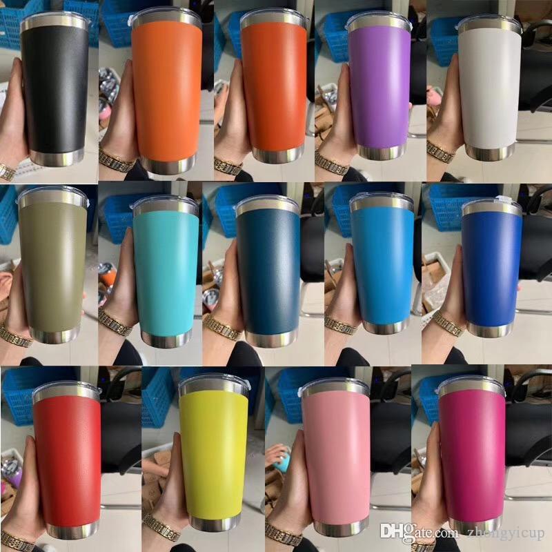 20oz Coupes en acier inoxydable à vide tasses isolé avec couvercle bouteilles Voyage Tumbler eau tasse de café de grande capacité tasse avec couvercle