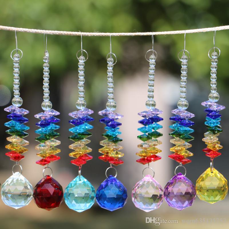 7PCS Clear 40mm K9 Crystal Ball Pendant Hanging Rainbow Suncatcher Handcrafts Christmas Glass Ornaments Gift W026-40mm