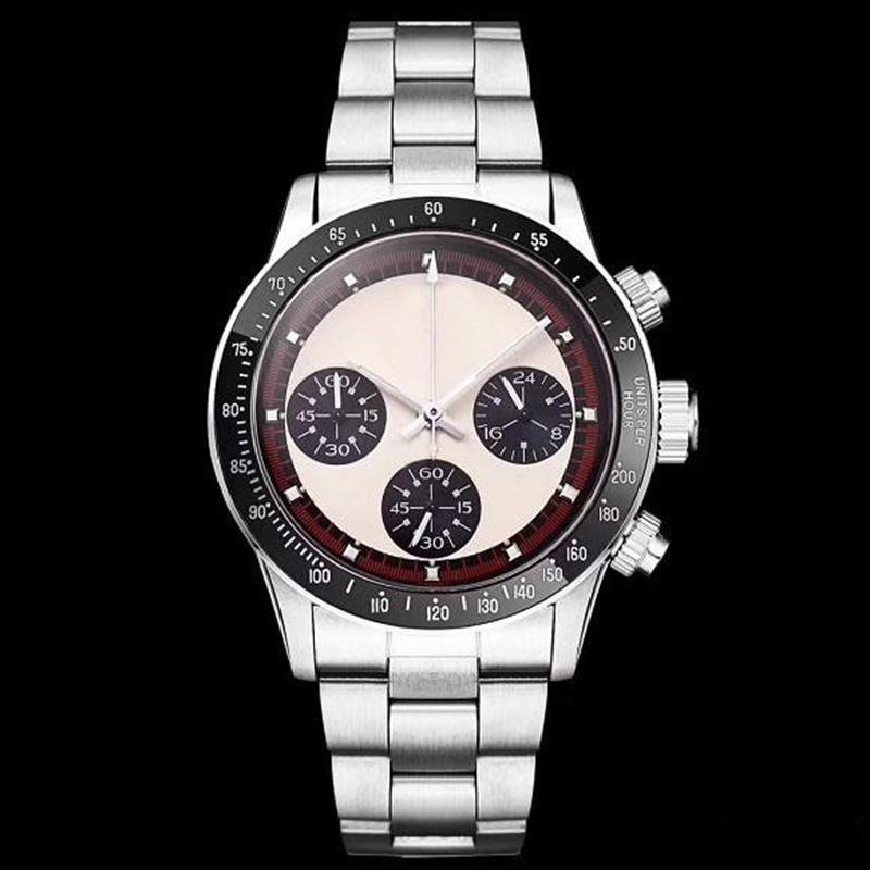 Hot vente Chronographe Vintage Perpetual Paul Newman Japanischer Quarz Edelstahl Männer Herrenuhren Uhr Armbanduhren