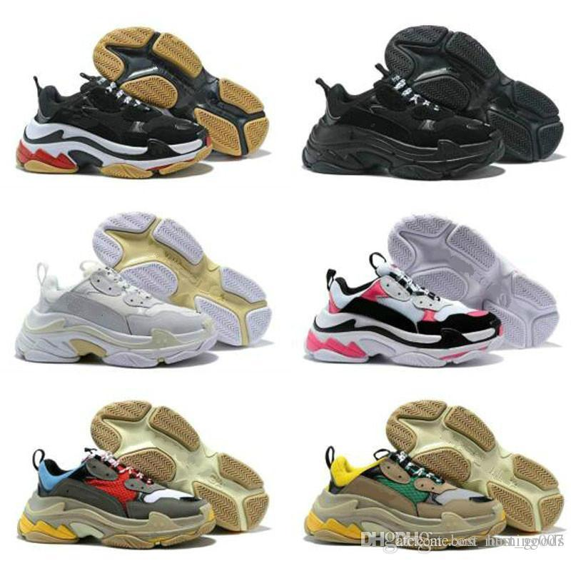 Günstige 2020 Fashion Paris 17FW Triple-S Sneaker Triple S beiläufige Dad Schuhe für Männer Frauen Beige Schwarz Ceahp Sports Designer-Schuh-Größe 36-45