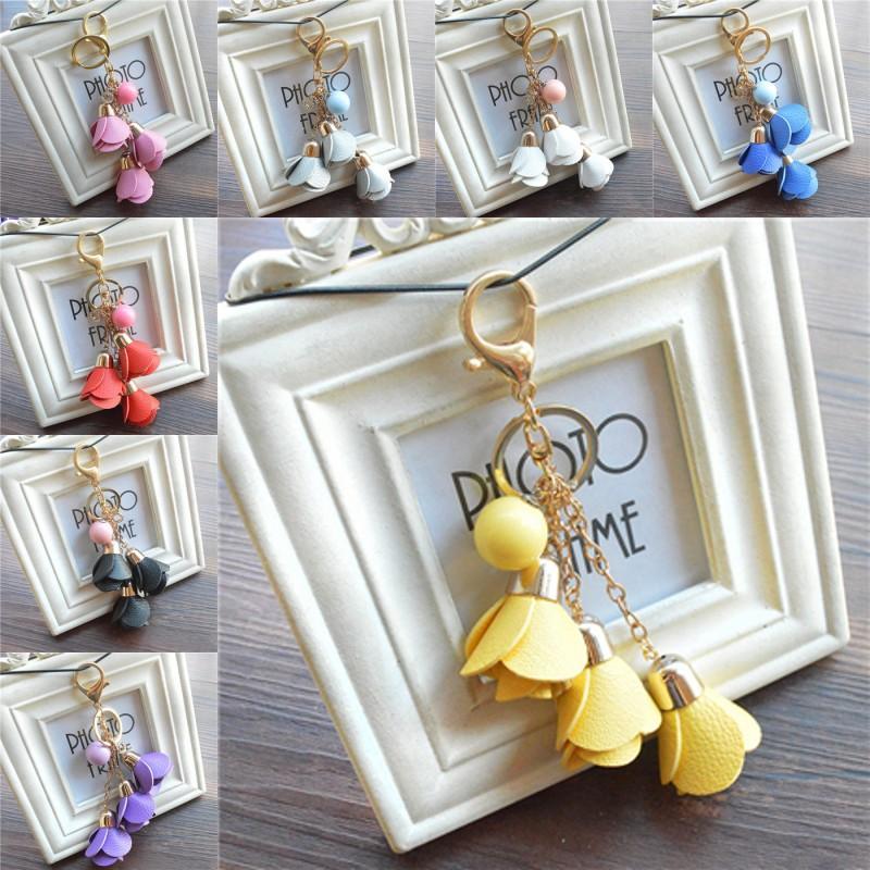 Llavero libre de DHL linda piel para Creative PU Rose Llavero de moda del teléfono del bolso del anillo dominante del accesorio de moda para novia del regalo del amante B786Q Un