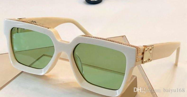 Fashion Square солнцезащитные очки Белый Зеленый линзы миллионера Солнцезащитные очки Мужские Солнцезащитные очки Shades Eyewear Новые с коробкой