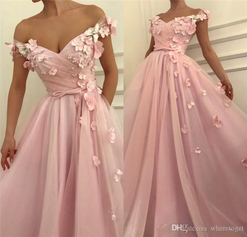 2019 Rosa 3D floreale a buon mercato africano Prom Dresses una linea fuori spalla Plus Size perle di cristallo ragazze di spettacolo da sera formale abiti da festa