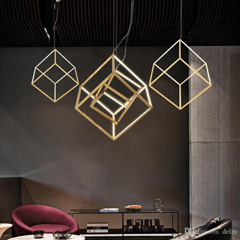 Poste moderne Cadre Carré LED lumières Pendant la géométrie Restaurant Bar Salon plaqué or Aluminium droplight Luminaire