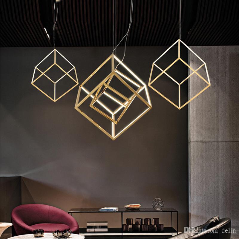 Messaggio Modern Square LED Pendant Frame luci geometria Ristorante Bar Soggiorno placcato Oro di alluminio Droplight Il dispositivo di illuminazione
