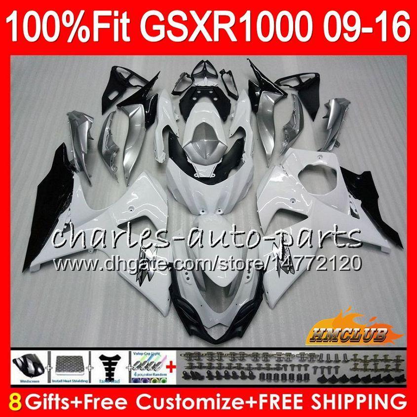Injecção Para SUZUKI GSXR1000 2009 2010 2011 2012 2014 2015 2016 16HC.14 GSXR-1000 K9 GSXR 1000 09 10 11 12 13 15 16 Carenagem branco brilhante