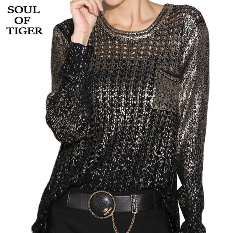De tigre 2020 moda coreana senhoras furo de luxo blusas mulheres sexy casual outono novo jumpers de malha plus size