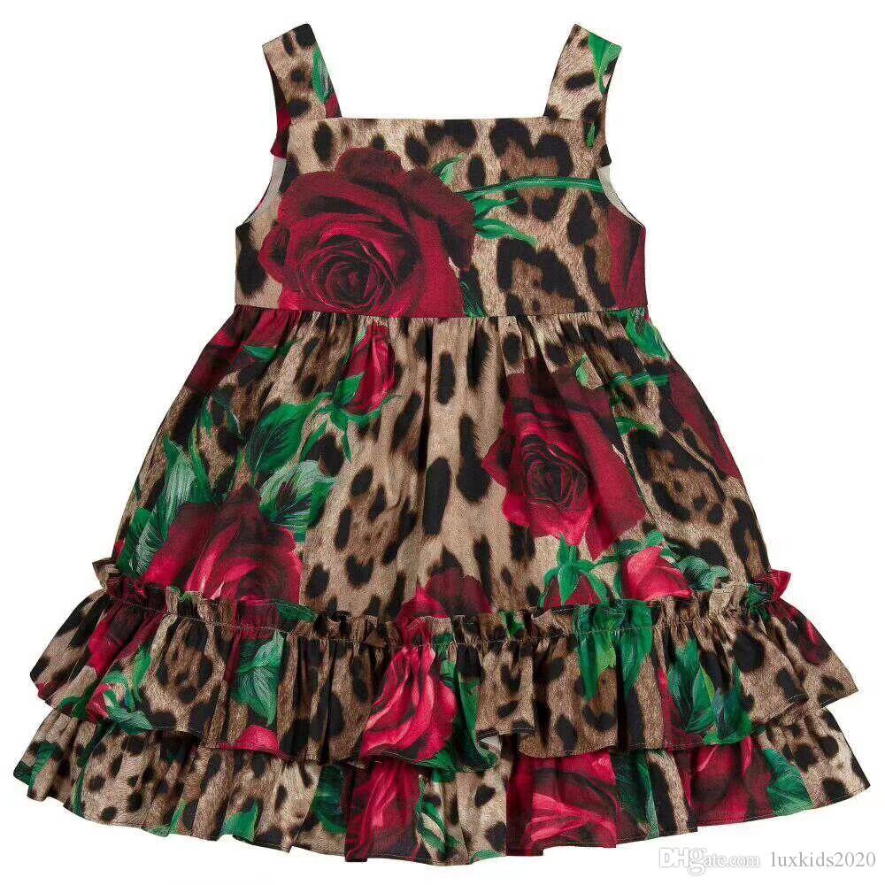 2020 Stokta 2-12Yar Yeni Marka Yeni Kız Leopar Yelek Çiçek Elbise Çocuk Çocuk İlkbahar Yaz Elbise