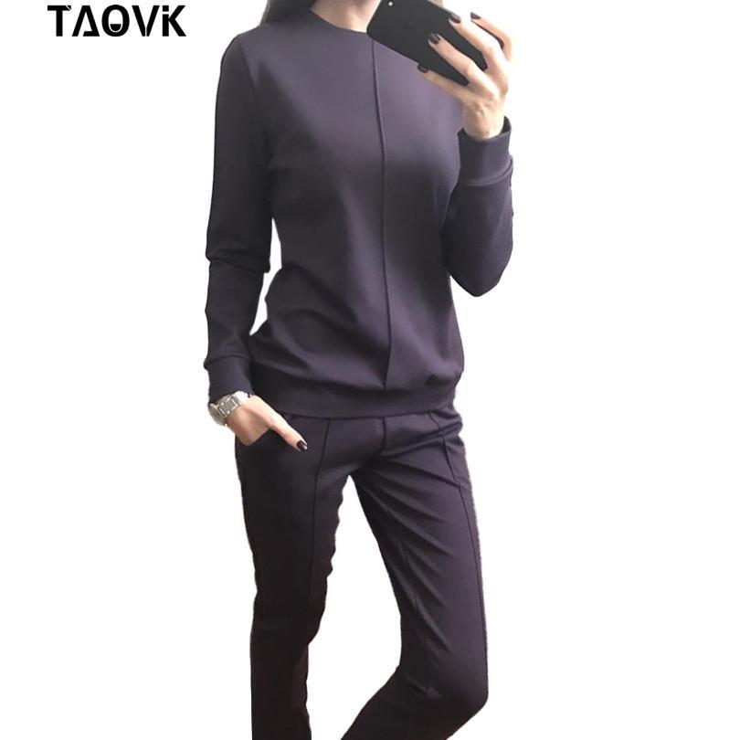 TAOVK Nueva moda, estilo ruso, para mujer, otoño, chándal, sudaderas con capucha, 2 piezas, camisetas + pantalones largos.