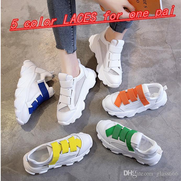 Malha de couro real AB sapatos primavera e no verão nova cor de doces de velcro grosso-solado sapatos papai