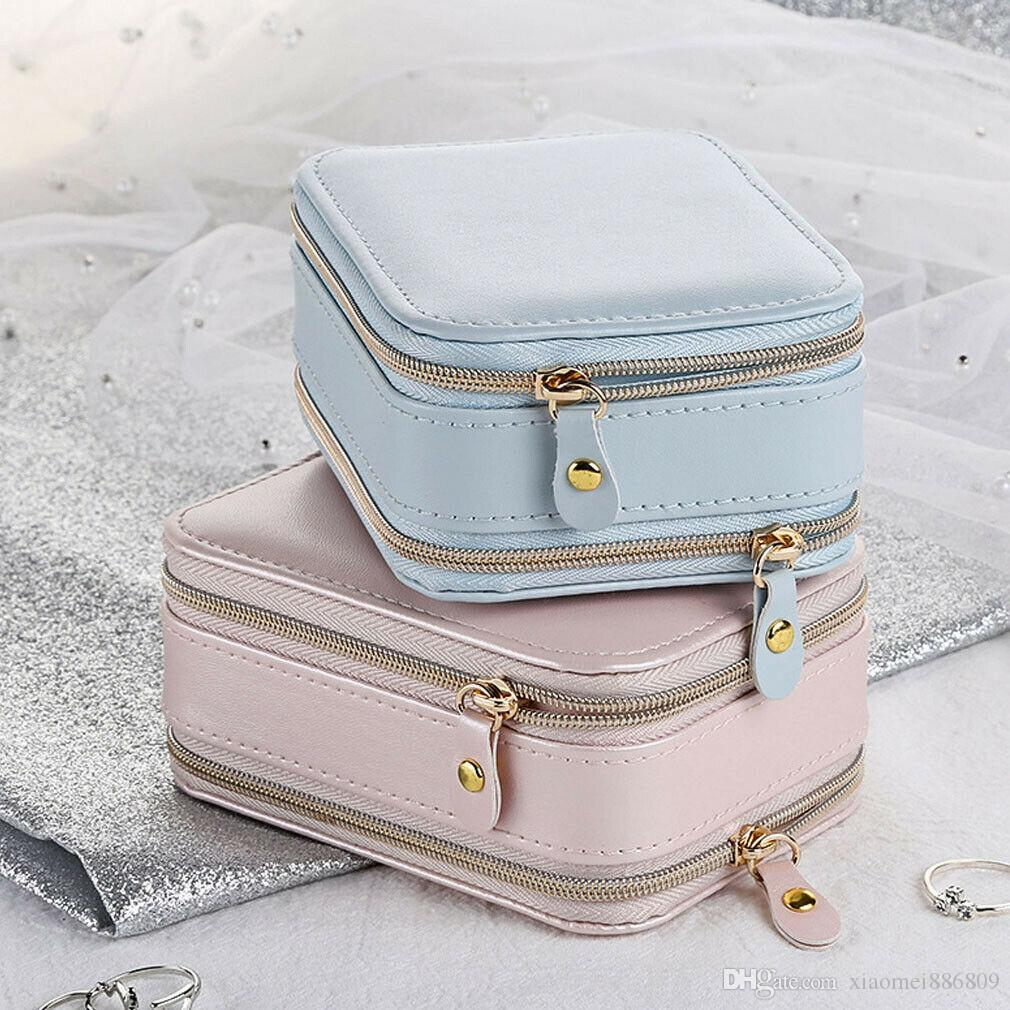 New Leather Jewelry Box Storage Organizer Necklace Bracelet Earring Case Holder Gift Home Storage Free Shipping