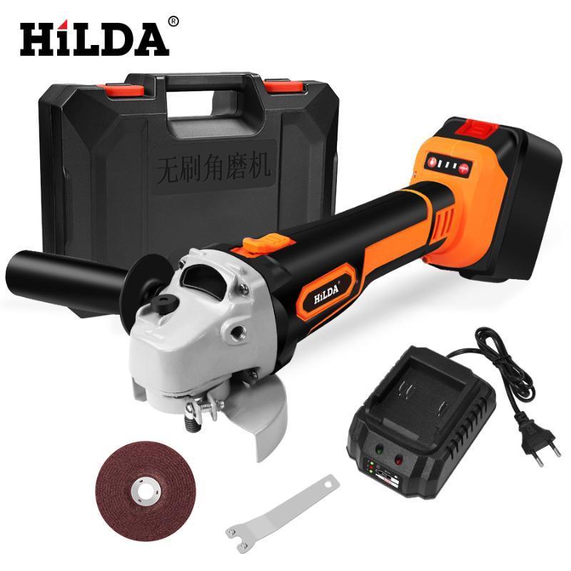 HILDA 21V Winkelschleifer Cordless Lithium-Ionen-Schleifmaschine Brushless drahtlose elektrische Winkelschleifer Elektrowerkzeuge