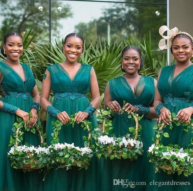 2020 V-образным вырезом с длинными рукавами A-Line BrideMaids Платья платья Кружевные аппликации Бисероплетение Vestidos de Bridesmaid Prom Pretion Pretions Change of Gaid