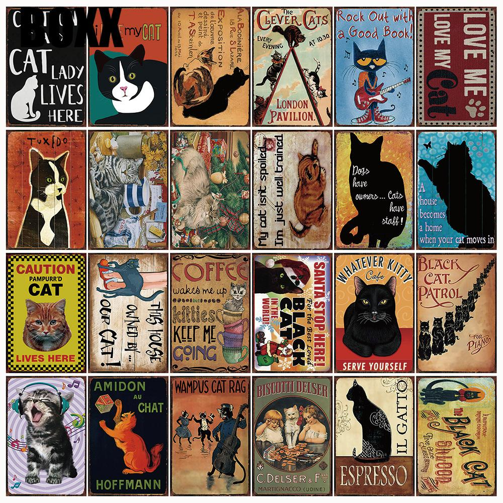 Home withour a Cat is A House Vintage Tin Metal Signs Bar Decor Art Wall Poster