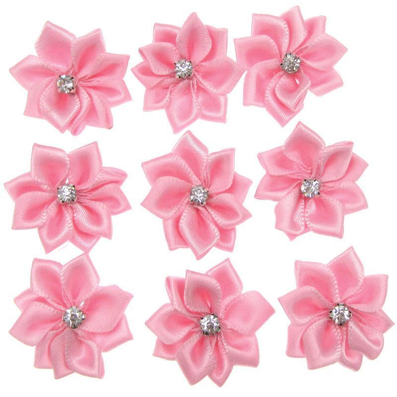 2.8cm 40pcs Rosa Pequeño flores de satén Tela Rhinestone Flores coser aplicaciones decoración de la boda de prendas de vestir
