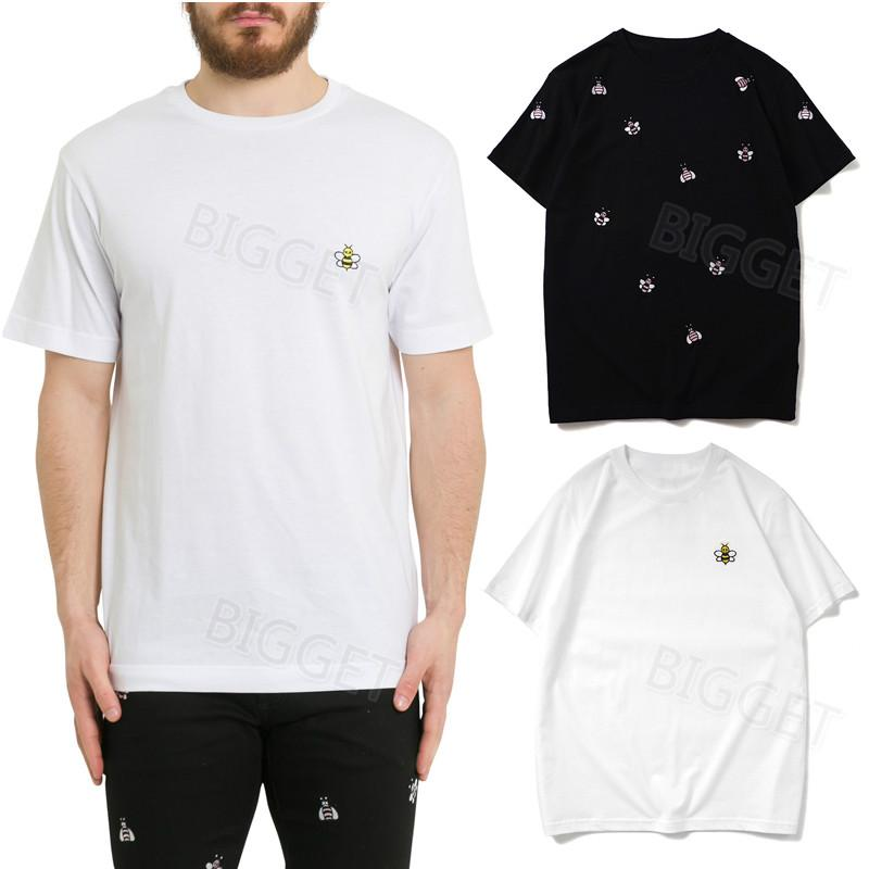 Embroidery Applique Design Casual T-Shirt For Man Hot Sale Ribbed Collar Tee Comfortable Cotton Tops Black White