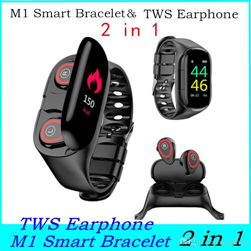 شاشة M1 الذكية سوار اللمس للياقة البدنية المقتفي TWS سماعات 2 في 1 رصد معدل ضربات القلب للياقة البدنية تذكير سماعة أذن سماعة M1 ووتش