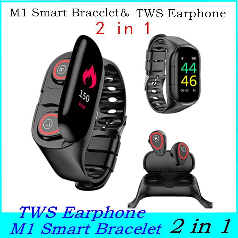 M1 Смарт Браслет сенсорный экран Фитнес-трекер TWS Наушники 2 в 1 Монитор сердечного ритма Фитнес Reminder Наушники Наушники для наушников M1 Watch
