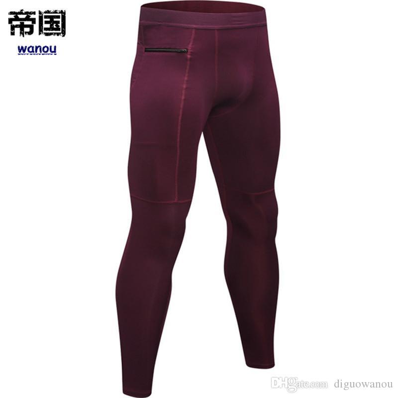Pantalones de la yoga de la cremallera del bolsillo de deporte para los hombres rápidos de los hombres de funcionamiento en seco para pantalones jogging Pantalón Gym Fitness Formación ropa deportiva pantalones de deporte