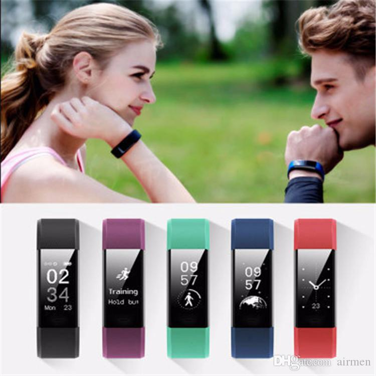 ID115 Plus colorful screen Smart Bracelet Fitness Tracker Pedometer Watch Band Heart Rate Blood Pressure Monitor for IOS Android phone