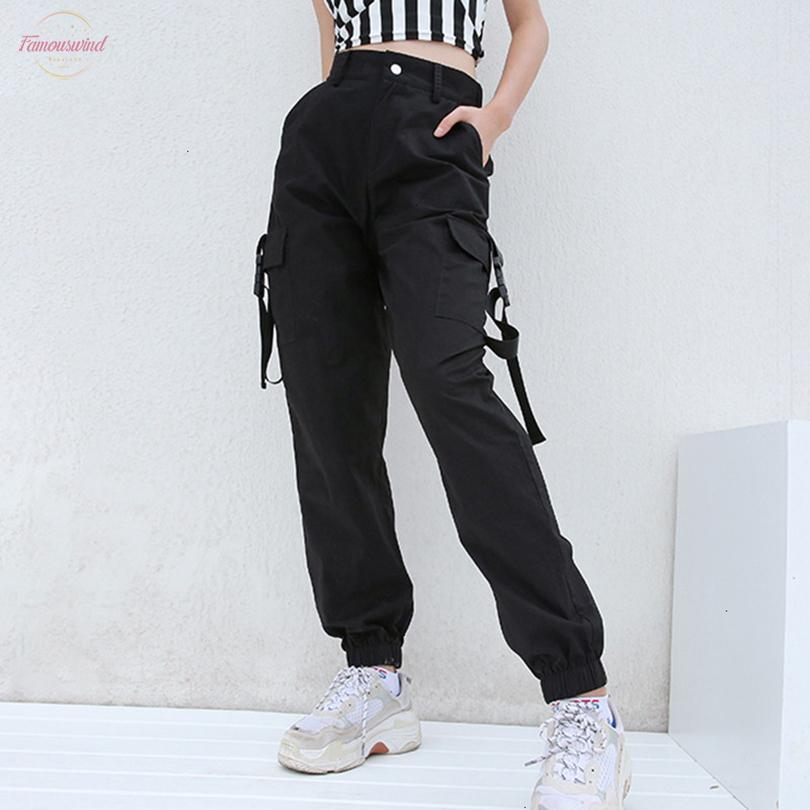 Pantalones para damas más el tamaño pantalones sueltos de Harajuku de Carga Mujeres Negro Pantalón de cintura alta Bombardero Femme Street para mujer del estilo pantalón Joggers