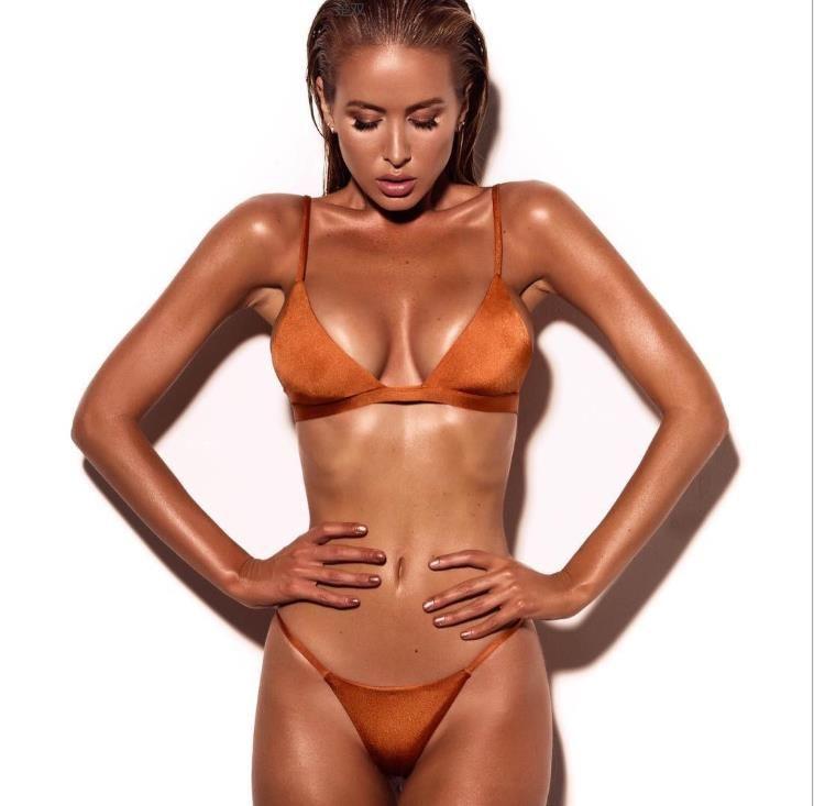 Nouveau Maillot de Bain Femme Couleur Pure Split Bikini