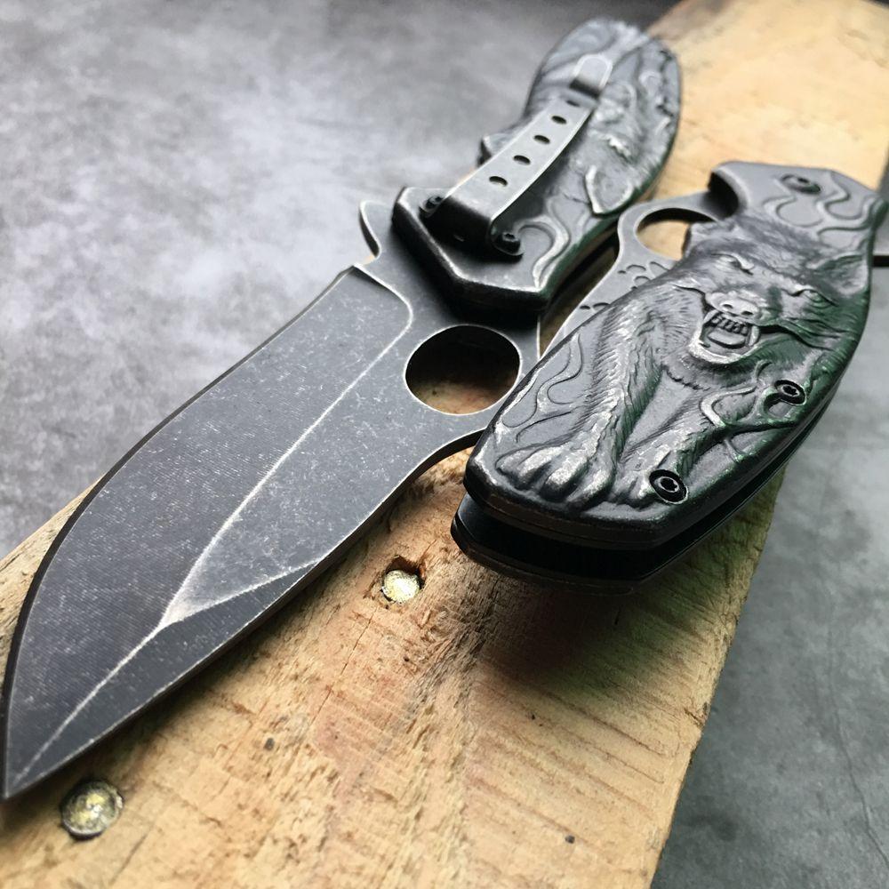 최고 품질의 3D 늑대 왕 조각 Stonewash 전술 나이프 서바이벌 캠핑 사냥 칼 야외 접이식 포켓 나이프