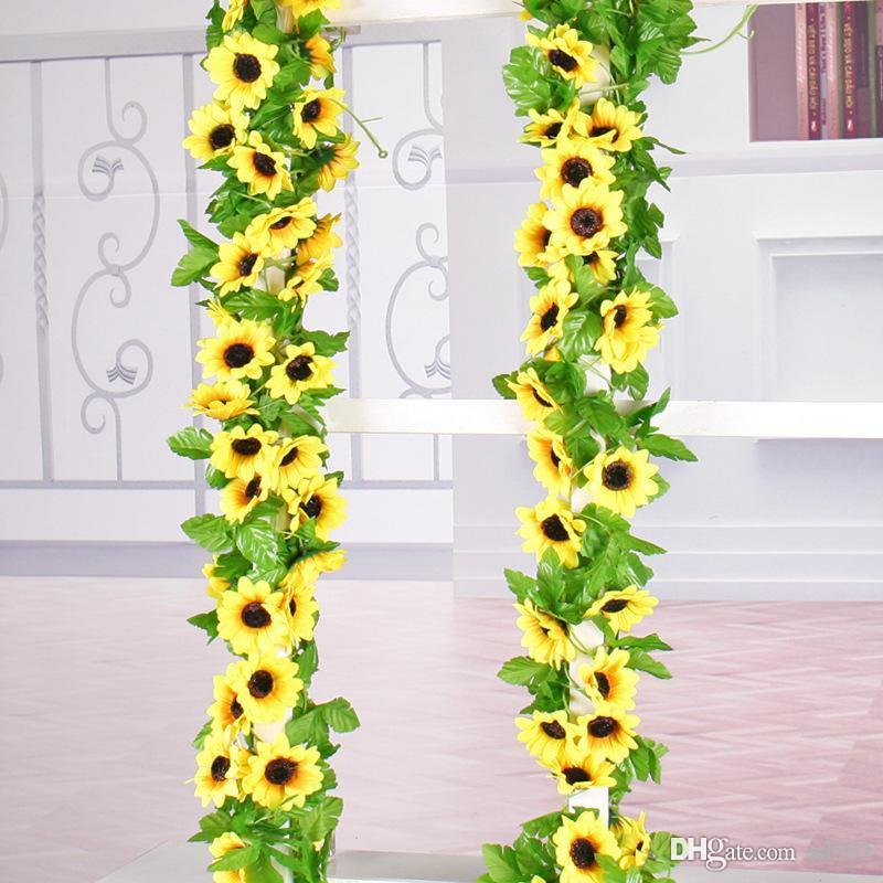 الشمس الاصطناعي زهرة محاكاة عباد الشمس داخلي الحرير الزهور وهمية لوتس قصب كرمة حفل زفاف تزيين ماندالا أكاليل 4 5czb1