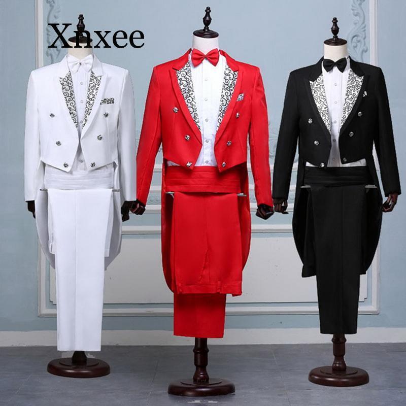 Uomini Formal Tuxedo Suit Set Classic Nero Bianco Rosso Tailcoat Tuxedo Moda abiti da uomo Costume di scena Prom